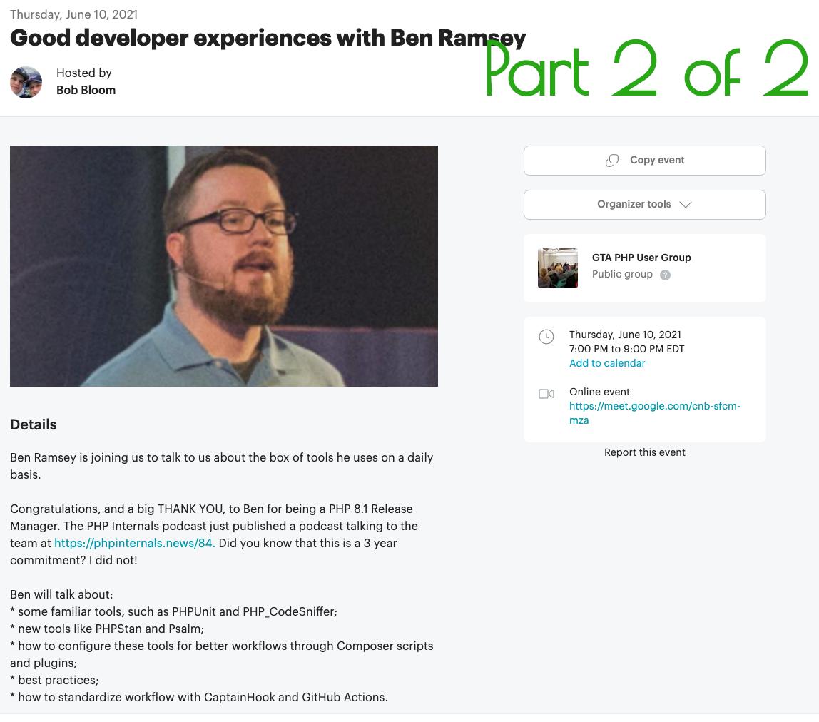 Good Developer Experiences With Ben Ramsey, Part 2 Of 2
